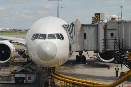 Front view of airplane at gate Stock Photo - 17228702