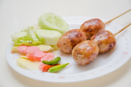 Thai Style Sausage with vegetable Stock Photo