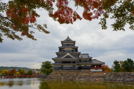 Matsumoto Castle in Matsumoto, early autumn, cloudy day