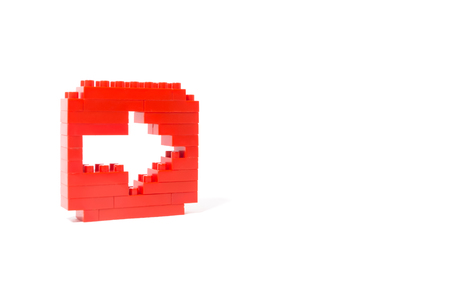 arrow right icon: Arrow right icon with lego blocks isolated on a white background Stock Photo