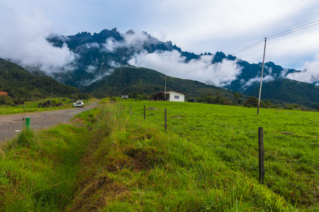 Mount Kinabalu from dairy farms  Stock Photo