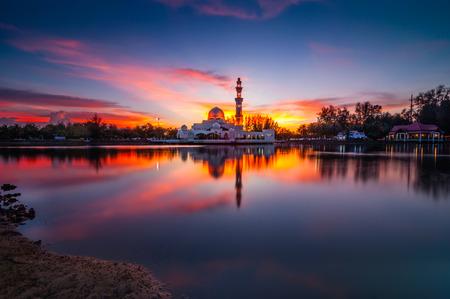 terengganu: Sunset Tengku Tengah Zaharah Mosque Terengganu Malaysia Editorial