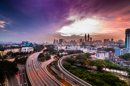 urban view from top during sunrise Stock Photo