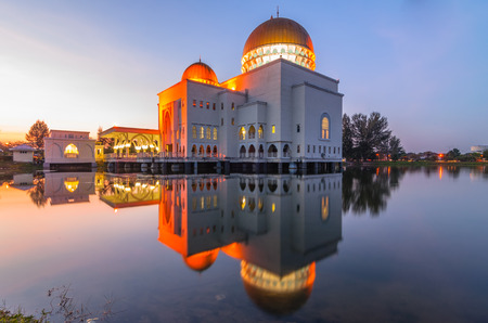 Assalam Mosque during sunrise in vertical view