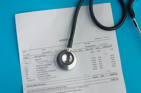 doctor money: Hospital Bills And stethoscope