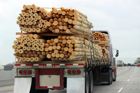 Truck transporting wood Editorial