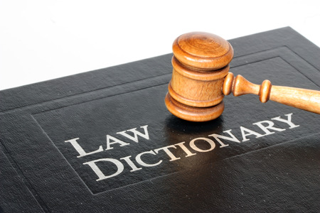 data dictionary: Law dictionary and gavel on white background Stock Photo