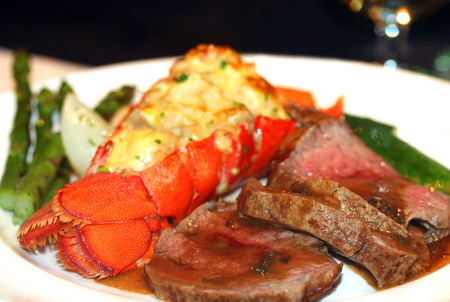 stuffed fish: Gourmet lobster dinner at the fine restaurant
