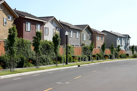 Row of houses in suburban neighborhood