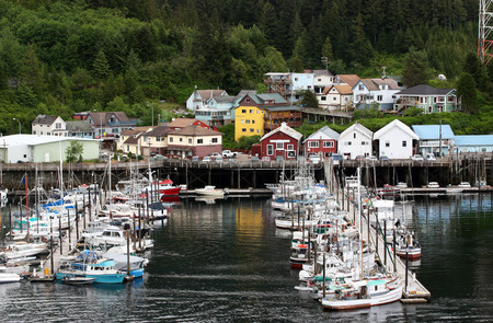 ケチカン、アラスカで静かな係留 写真素材