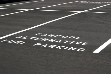 Carpool Alternative Fuel Parking space on new parking lot photo