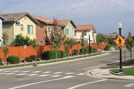 suburban: Pedestrian crosswalk in suburban neighborhood