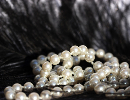 pearl necklace: White Pearls on Black Feather