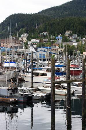 Scene of quiet harbor in Ketchikan Alaska