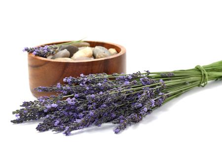 Beautiful lavender spa set on white background