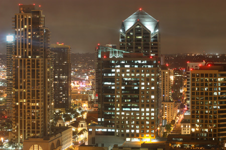 diego: Night scene of Downtown San Diego California Stock Photo