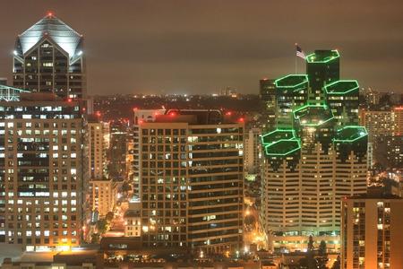Night scene of Downtown San Diego California Stock Photo