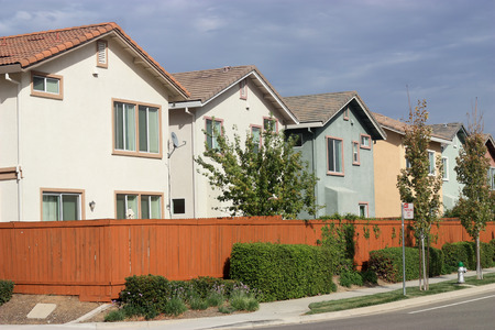 Row of new houses in suburban neighborhood photo