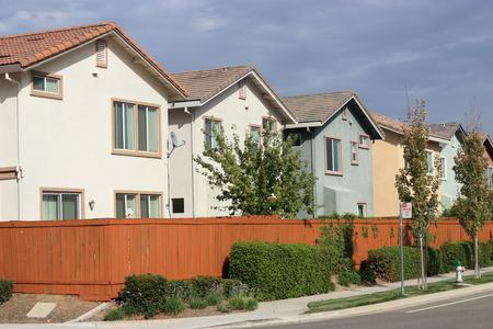 suburban neighborhood: Row of new houses in suburban neighborhood