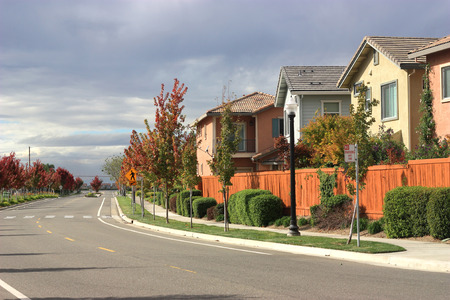 Row of houses in suburban neighborhood photo
