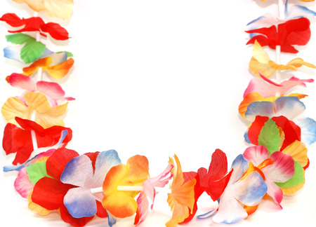 Traditional Hawaiian colorful floral necklace photo