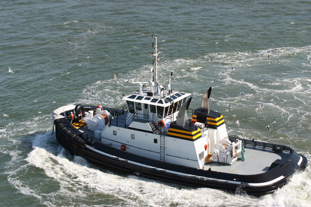 Coast guard boat in the ocean Stock Photo