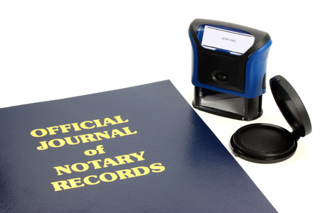 bank records: Official notary journal and stamp