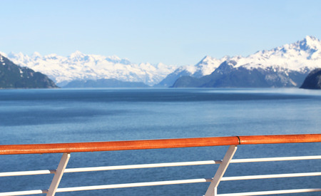 alaska scenic: View of scenic alaska mountains from cruise ship