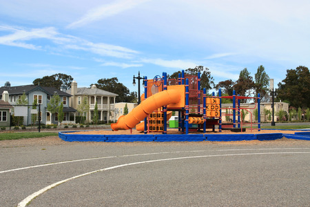 playground equipment: Urban neighborhood elementary school playground