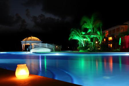 Beautiful resort pool at night