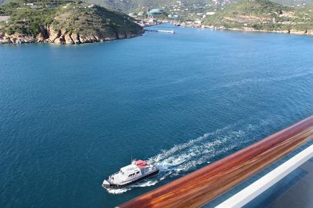 Pilot boat monitors cruise ship