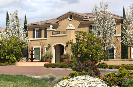 Beautiful suburban home during spring