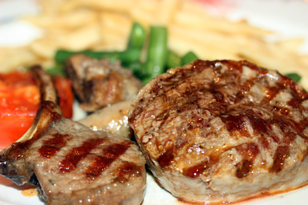 Fatty and juicy grilled meat at the restaurant