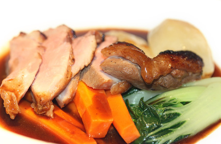 Cooked duck breast dish in the restaurant