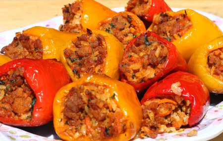 freshly cooked: Freshly cooked stuffed peppers Stock Photo
