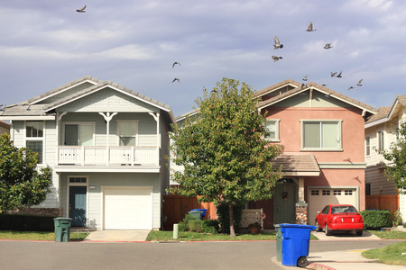 Standard houses in suburban neighborhood
