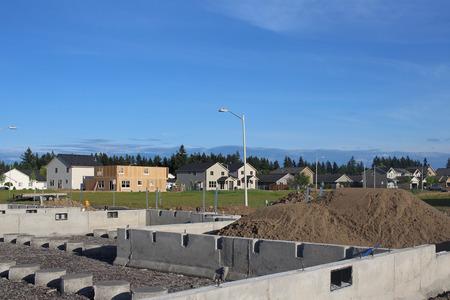 suburban neighborhood: Building a family home in suburban neighborhood