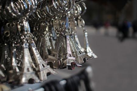 Eiffel Tower souvenirs in Paris France 版權商用圖片