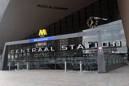 ROTTERDAM, NETHERLANDS - May 9, 2015: The New Rotterdam Central Station, the contemporary entrance of the Rotterdam Centraal. The new building was opened in March 2014.