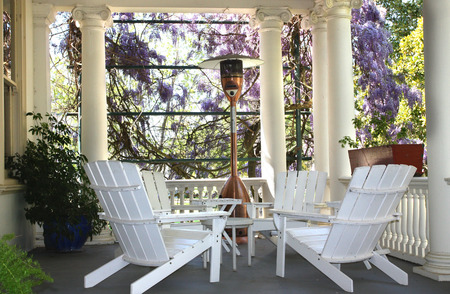 old furniture: Beautiful setting in outdoor house porch