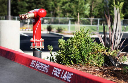 residential tree service: No Parking Fire Lane sign on the parking lot, with a fire hydrant on the background.