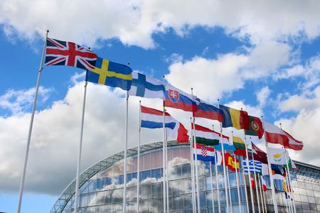 negocios internacionales: Banderas de los estados miembros de la Unión Europea