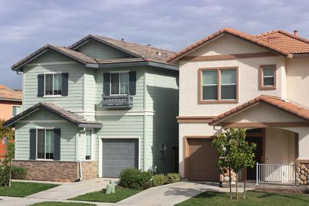 suburban neighborhood: Houses in suburban neighborhood Stock Photo