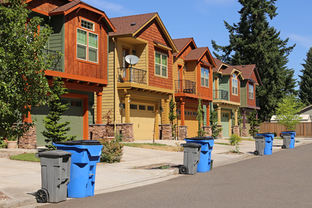 suburban neighborhood: Row of modern houses in suburban neighborhood