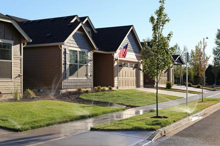 Family homes in suburban neighborhood