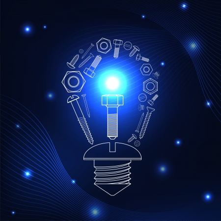 Light bulb consisting of screws.  Concept of new technologies Vector