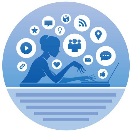 social networking: Societ� dell'informazione Ragazza Con un portatile e un Icone di Social Networking