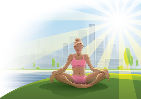 self development: Woman practices yoga outdoors  Illustration on the theme of healthy lifestyles  100 vector image  Fully editable  Format   Illustration