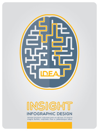 ponder: Image of the brain in the style of infographic expressing intricate way to insight