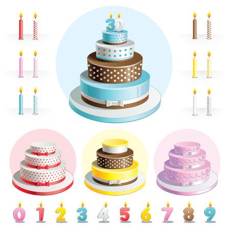 Stel cakes voor verjaardag met kaarsen in de vorm van getallen Stock Illustratie